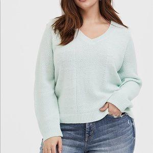 Torrid mint green v neck pullover sweater